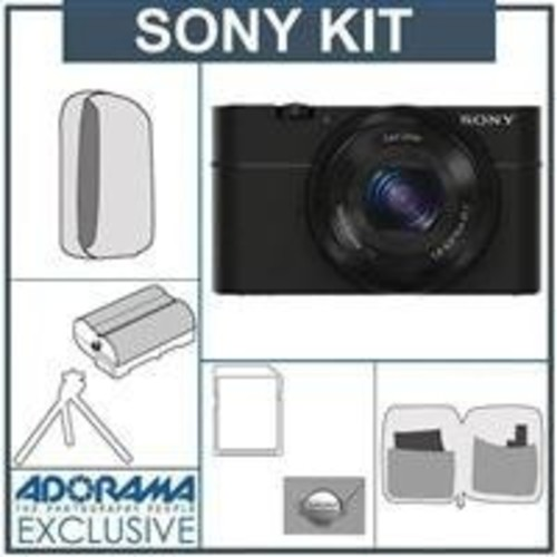 Sony Cyber-Shot DSC-RX100 Digital Camera, Black - with 16GB SDHC Memory Card, Camera Case, Spare NP-BX1 Battery, Mini Tripod, New Leaf 3 Year Warranty, Professional Lens Cleaning Kit - Includes 7 Items