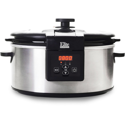 Elite Platinum MST-6013D 6 qt Programmable Slow Cooker with Locking Lid, Stainless Steel
