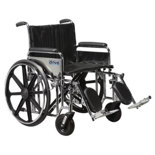 Drive Medical Sentra Extra Heavy Duty Wheelchair, Full Arms, Legrest, 24