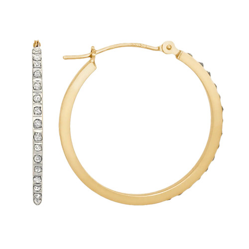 Diamond Fascination 14K Yellow Gold Diamond Accent Round Hoop Earrings