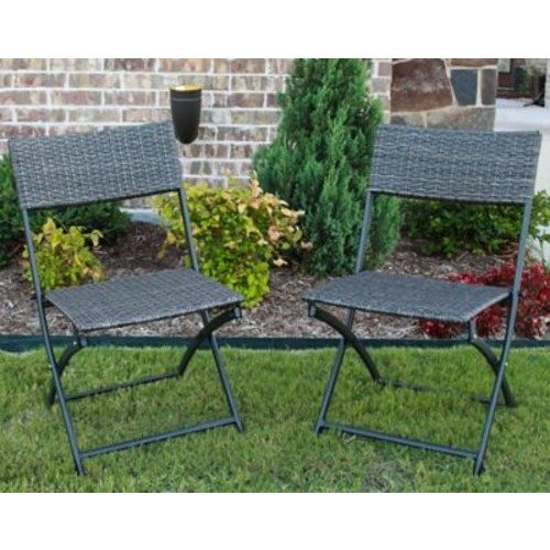 Ivy Bronx Maryanne Folding Resin Wicker Patio Chair (Set of 2); Antique Gray