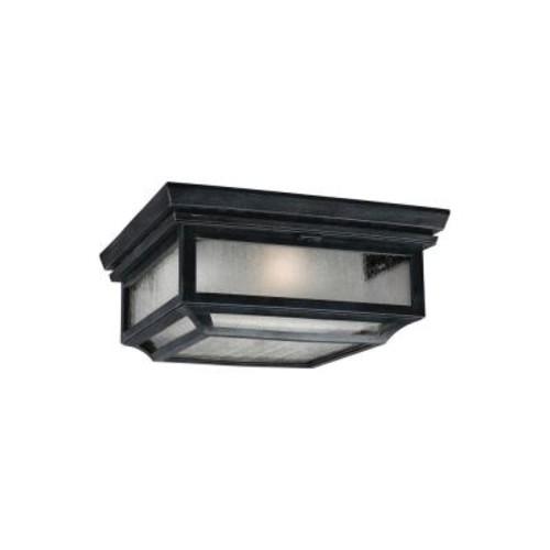 Feiss Shepherd 2-Light Dark Weathered Zinc Outdoor Ceiling Fixture