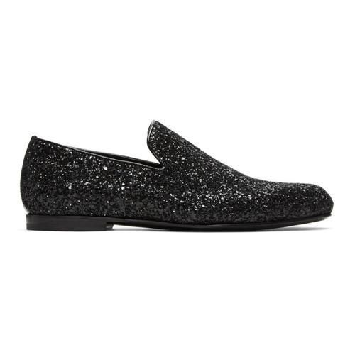 JIMMY CHOO Black Glitter Sloane Loafers
