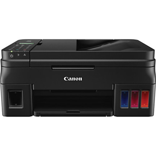 Canon PIXMA G4200 Inkjet Multifunction Printer - Color - Photo Print - Desktop - Copier/Fax/Printer/Scanner - 8.8 ipm Mono/5 ipm Color Print (ISO) - 60 Second Photo - 4800 x 1200 dpi Print - 1 x Input Tray 100 Sheet, 1 x Output Tray 50 Sheet LCD - 2400 dpi Optical Scan - 100 sheets Input - Wireless LAN - USB
