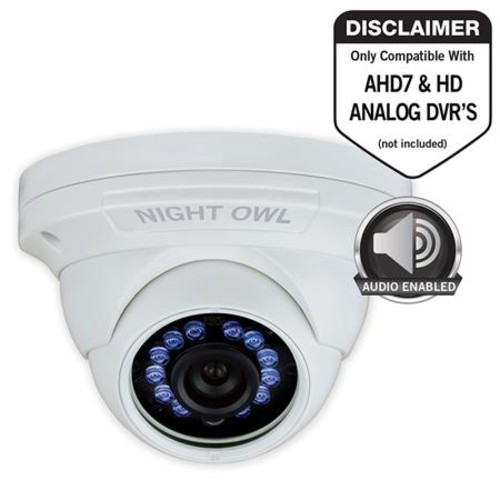Night Owl 2MP HD Indoor/Outdoor Day & Night Wired Security Dome Camera, White CAM-HDA10W-DMA