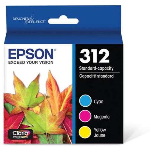 Epson T312 Claria Standard Capacity Ink Cartridge, 3 Pack, Cyan/Magenta/Yellow