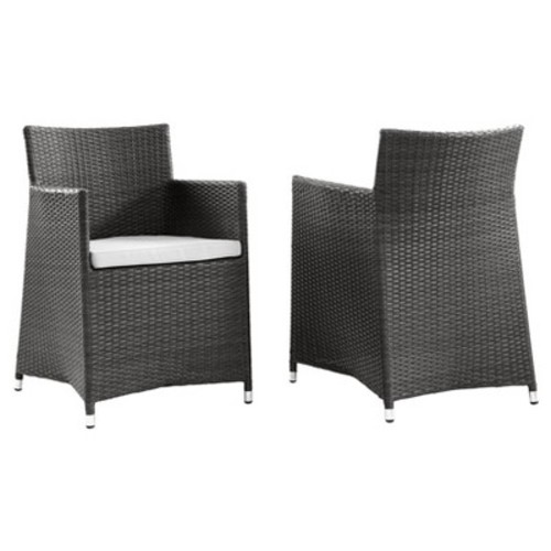 Junction Collection EEI-1738-BRN-WHI-SET Set of 2 Outdoor Patio Wicker Armchair with Powder Coated Aluminum Frame Synthetic Rattan Weave Water and UV Resistant in Brown White Color