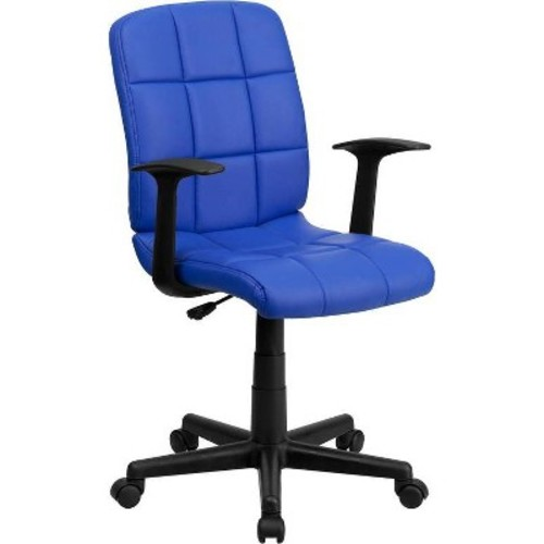 Mid-Back Swivel Task Chair Blue Quilted Vinyl - Flash Furniture