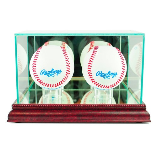 Double Baseball Display Case with Cherry Finish