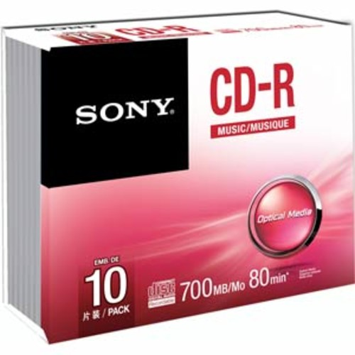 Sony CD-R 80 Minute Audio Disks - 10-Pack