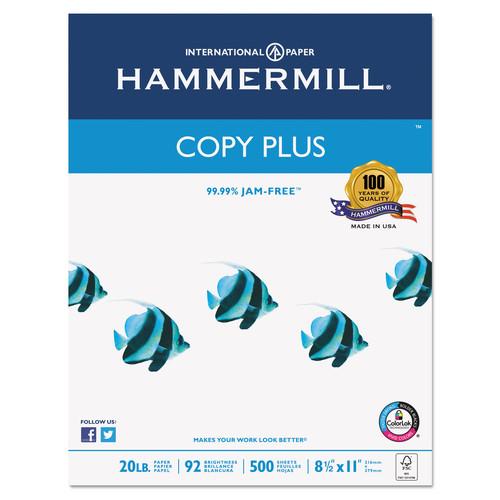 Hammermill 105007 Copy Plus Copy Paper, 92 Brightness, 20lb, 8-1/2 x 11, White (Case of 5000 Sheets)