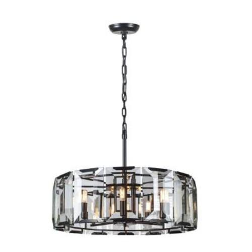 Elegant Lighting Monaco 8-Light Flat Black Matte Glass Crystal Clear Pendant