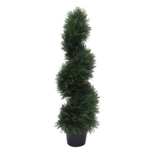 Artificial Cedar Spiral On Pot (UV) Green - Vickerman
