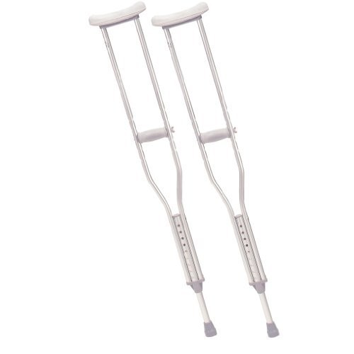 Drive Medical Aluminum Crutch with Comfortable Underarm Pad and Handgrip, Gray, Youth [Youth]
