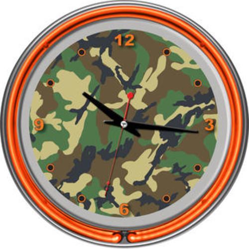 ADG Source Hunt Camo Chrome Double Ring Neon Clock HUNT1400-CAMO