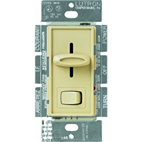 Lutron S-600P-IV Skylark Single Pole Dimmer with On/Off Switch, 600-watt, Ivory [Ivory]