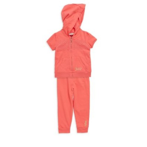 Juicy Couture - Baby's Two-Piece Lace-Insert Hoodie and Pants Set