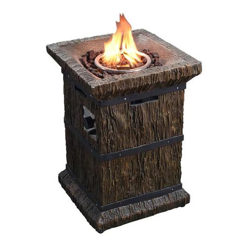 Teamson Peaktop Wood-grain Outdoor Square Column Propane Gas Fire Pit