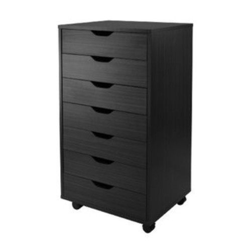 Halifax Black Wood 7-drawer Office Cabinet