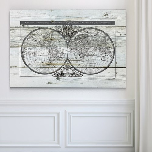 Wexford Home Gallery Wrapped Canvas World Map Hemispheres