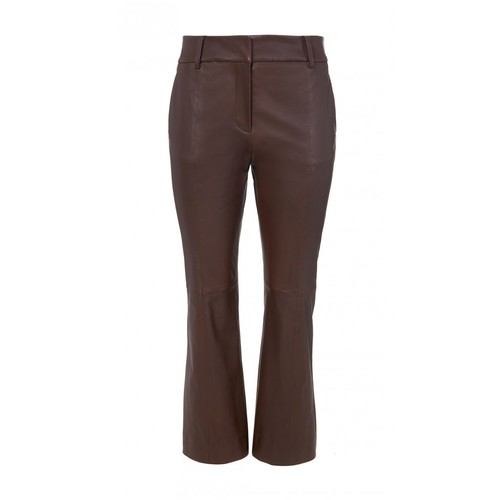 TIBI Stretch Leather Boot Cut Cropped Pants