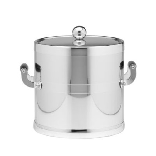 Kraftware Americano 3 Qt. Polished Chrome Ice Bucket and Lid, Wood Side Handles