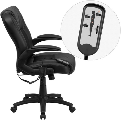 Shiatsu Massaging Black Leather and Mesh Executive Swivel Adjustable Office Chair