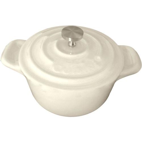 La Cuisine 4 in. Mini Round Cast Iron Casserole Dish in Cream