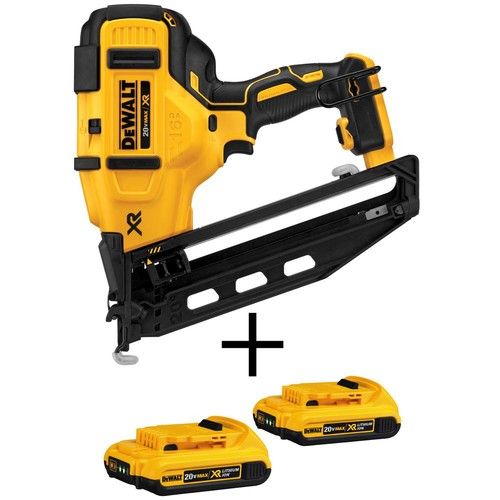 DEWALT 20-Volt MAX XR Lithium-Ion Cordless 16-Gauge Angled Finish Nailer(Tool-Only) with Bonus Battery Pack 2.0Ah (2-Pack)