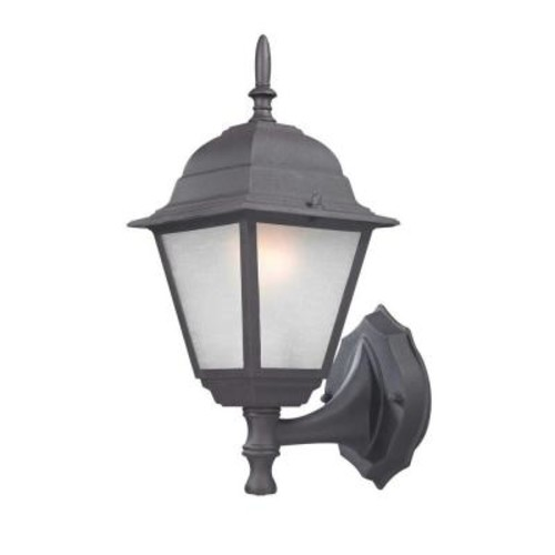 Design Traditional Wall-Mount 14.25 in. Black Outdoor Lantern with White Glass