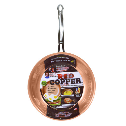 As Seen On TV 10-Inch Red Copper Frying Pan