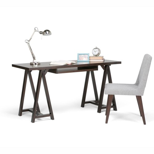 Simpli Home Sawhorse Dark Chestnut Brown Desk