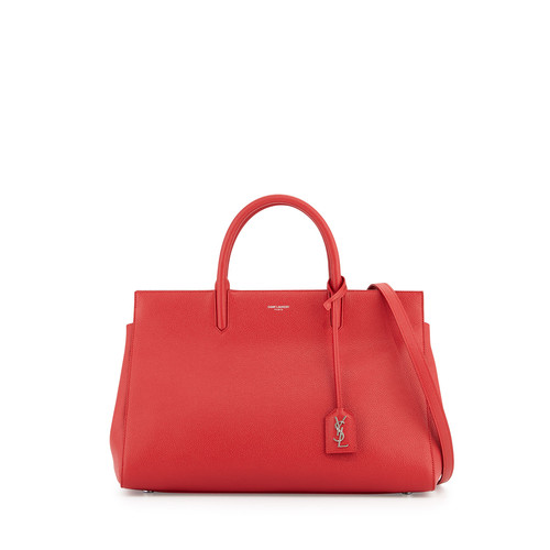 SAINT LAURENT Cabas Rive Gauche Medium Tote Bag, Rouge Red
