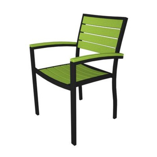 POLYWOOD Euro Dining Arm Chair; Black & Lime