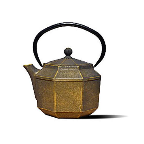 Dutch 30 Oz Black and Gold Cast Iron Pagoda Teapot