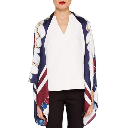 TED BAKER Ridaa Rowing Stripe Silk Cape Scarf