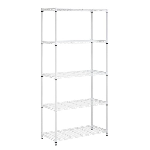 Honey-Can-Do Urban Steel Adjustable Industrial Shelving Unit, 5-Tier, White