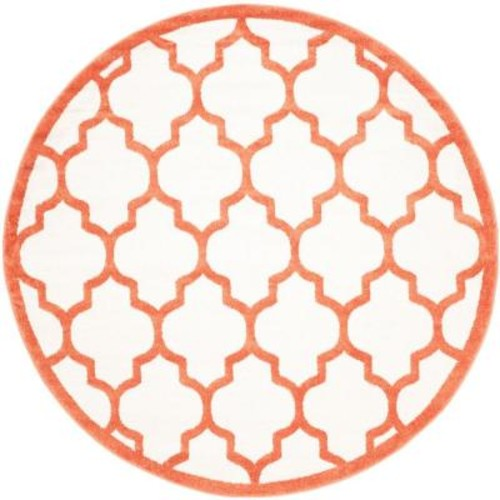 Safavieh Amherst Beige/Orange 7 ft. x 7 ft. Indoor/Outdoor Round Area Rug