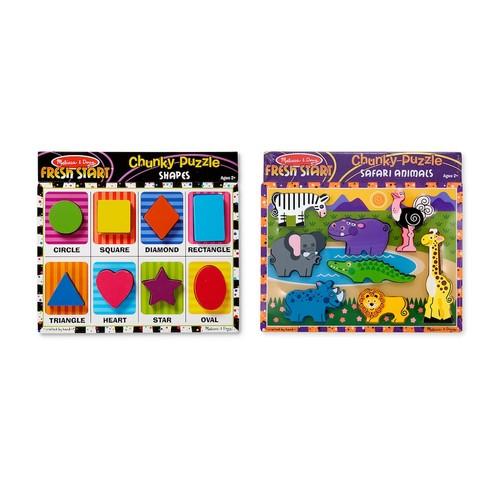Melissa & Doug Chunky Puzzle Bundle - Safari and Shapes