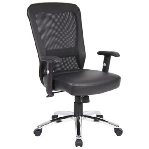Symple Stuff Leather Executive Chair; Chrome