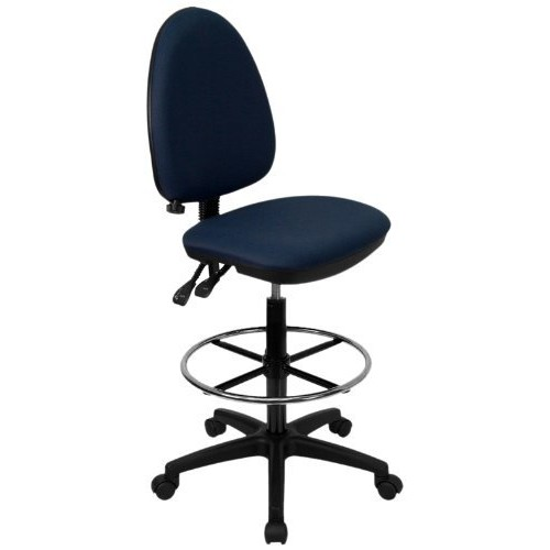 Flash Furniture Mid-Back Navy Blue Fabric Multifunction Drafting Chair with Adjustable Lumbar Support [Navy Blue]