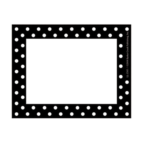 Barker Creek Self-Adhesive Name Badge Labels, 3 1/2 x 2 3/4, Black-And-White Dots, Pack Of 45