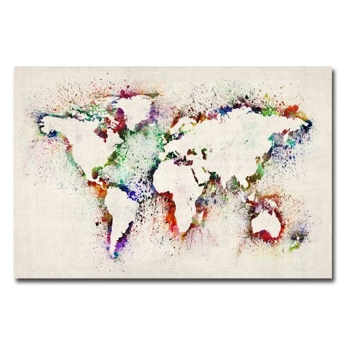 World Map II - Paint Splashes by Michael Tompsett, 16x24-Inch Canvas Wall Art [16 by 24-Inch]