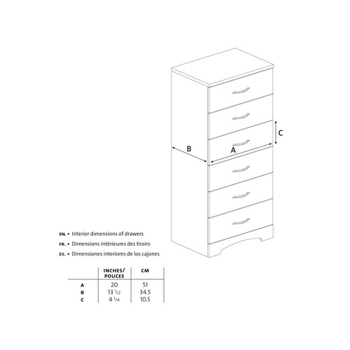 South Shore Step One 6-Drawer Chest Pure Black