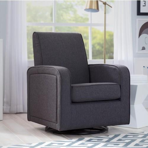 Delta Children Charlotte Nursery Glider Swivel Rocker Chair - Charcoal