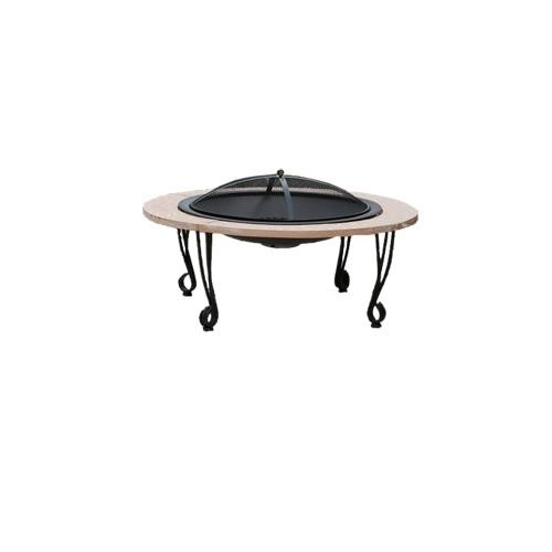 Fire Sense 39 in. Black Porcelain and Natural Stone Fire Pit