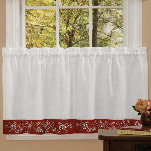 Achim Semi-Opaque Burgundy Oakwood Tier Curtain - 24 in. W x 58 in. L
