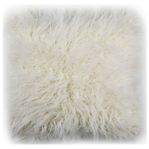 Safavieh Flokati Faux Fur 20-Inch Square Throw Pillow in Ivory