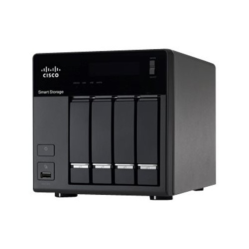 Cisco Small Business NSS 324 Smart Storage - NAS server - 4 bays - 4 TB - SATA 3Gb/s - HDD 1 TB x 4 - RAID 0, 1, 5, 6, 10, JBOD, 5 hot spare - RAM 1 GB - Gigabit Ethernet - iSCSI - refurbished (NSS324D04-K9-RF)