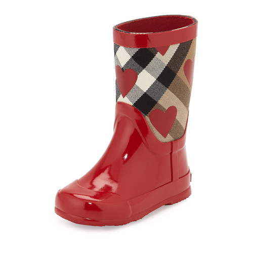 BURBERRY Ranmoor Heart-Print Rubber Rain Boot, Red, Toddler